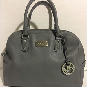 Michael kors grey leather satchel handbag